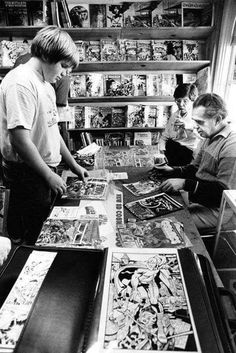 """Meeting Jack """"King"""" Kirby some time in the early Long live the King. Marvel Creator, Book Creator, Marvel Heroes, Comic Book Artists, Comic Artist, Comic Books Art, Comic Book Storage, People Reading, Jack Kirby Art"""