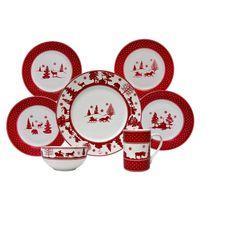 222 Fifth Adirondack 16pc Dinnerware Set Red