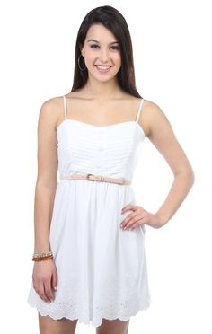 Deb Shops strapless embroidered eyelet print belted casual dress ...