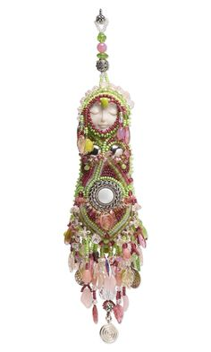 Bead Embroidered Dangling Doll with Seed Beads and Czech Fire-Polished and Pressed Glass Beads
