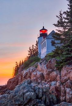 Sunset at Bass Harbor Head Lighthouse in Acadia National Park, Maine
