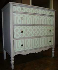 add some fun to a plain boring dresser with a trellis stencil