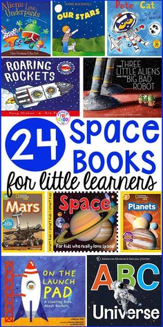 Space theme book list for little learners (preschool, pre-k, and kindergarten). Take your space theme to the next level with the amazing books!