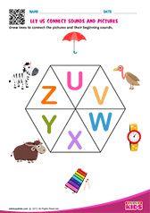 Phonic Match U to Z Letter S Worksheets, Alphabet Worksheets, Alphabet Activities, Worksheets For Kids, Preschool Phonics, Teaching Kindergarten, Kindergarten Worksheets, Alphabet Sounds, Phonics Sounds
