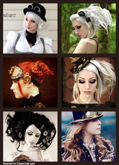 Steampunk Bride Hairstyle, I loove the bottom left XD