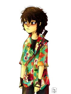 Nico is little, cute, gay, very brave and has a tropical shirt. | art by takeanap