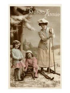 Woman on Skis, Girls on Sled Sports Art Print - 46 x 61 cm Ski Vintage, Vintage Ski Posters, Vintage Postcards, Vintage Woman, French Vintage, Vintage Pictures, Vintage Images, Antique Photos, Ski Girl