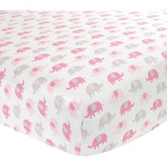 Fitted Elephant Print Crib Sheet ($16) ❤ liked on Polyvore featuring home, children's room, children's bedding e baby bedding