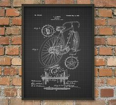 Bicycle Patent Wall Art Poster 2 - Cyclist Gift Idea - Cycling Wall Art - Bicycle Patent Design - Cyclist Gift Idea - Road Bicycle  This poster is printed using high quality archival inks on archival paper with a smooth matte finish. A fantastic gift or a fabulous addition to your home!  Please choose between different colors and sizes.  A small white edge is added for easy framing.  ---------------------------------------------------------------------------------------------  FLAT RATE…