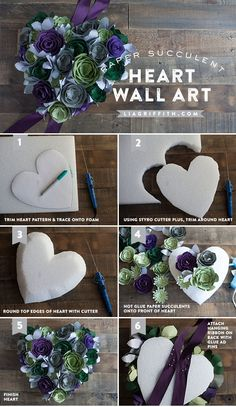 # liagriffithcom Succulent Heart Wall Art DIY Succulent Wall Art at DIY Succulent Wall Art at Crepe Paper Flowers, Origami Flowers, Felt Flowers, Diy Flowers, Fabric Flowers, Paper Succulents, Succulent Wall Art, Succulent Wreath, Fleurs Diy