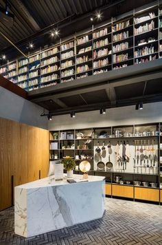 Design Studio complete Hyundai Cooking Library in Seoul Seoul, Couple Ulzzang, Restaurants, Library Pictures, Cooking For A Group, Loft, Marble Countertops, Interior Design Studio, Experiential