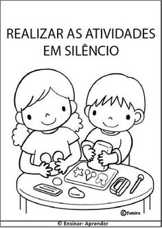 """ Cantinho do Educador Infantil "": PLAQUINHAS, REGRAS, COMBINADOS E ROTINA ILUSTRADA PARA SALA DE AULA E ESCOLA Starting School, Beginning Of School, Pre School, Coloring Pages For Kids, Coloring Books, Primary Teaching, Spanish Activities, Classroom Rules, Schools First"