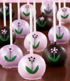 Mother's Day Cake Pops -- lemon cake pops with lavender and pink candy melt coating, pearl sugar