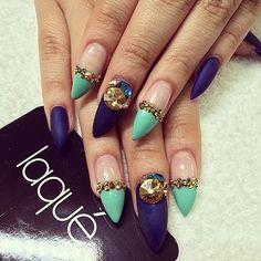 Blue turquoise gold rhinestone nails #laquenailbar #getlaqued by laquenailbar http://ift.tt/1tPGWDz