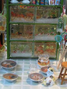 Miniature fish shop. make aquariums out of little office organisers