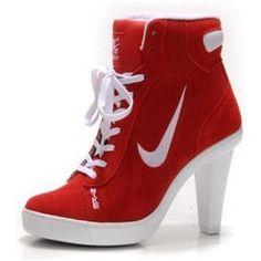 video van halen - Women's Nike Heel Sneakers- White & Black High Top Round Toe Nike ...