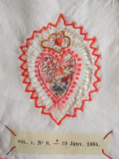 embroidered sacred heart milagro - One Bunting Away