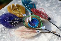 Hair Pins - Peacock Feather Hair Pin - Set of Two - YOU CHOOSE - ready to ship - purple, turquoise, ivory, red, blue, yellow,. $20.00, via Etsy.
