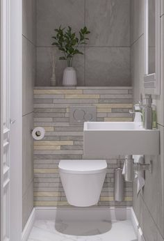 New Bathroom Design Small Layout Storage Ideas bathroom 697706167252284410 Small Downstairs Toilet, Small Toilet Room, Guest Toilet, New Bathroom Designs, Bathroom Design Small, Bathroom Interior Design, Bathroom Design Layout, Contemporary Bathrooms, Modern Bathroom