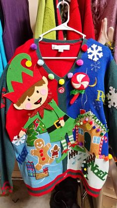 Ugly Christmas Sweater Elf Gingerbread House by UglySweatersForU