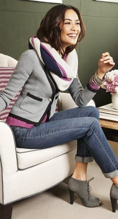 #style #fashion #casual: jeans, grey shoes and blazer and purple accents
