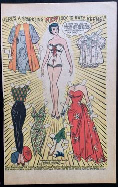 Old Katy Keene Comic Book Paper Dolls, Bill Woggon Art, New Look Fashions in Dolls & Bears, Paper Dolls, Vintage | eBay #comicart