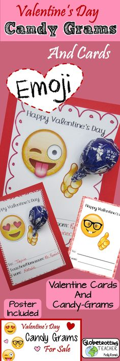 Trendy and unique Valentine's Day cards! These adorable Emoji lollipop holders make the perfect candy-gram for a fundraiser or a thoughtful treat for students and friends. Just print, cut, punch a hole and insert a lollipop (or a flower, pencil, glow stick, Pixie Stick, etc.).