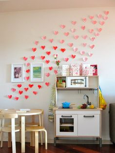 decorate the house with wall hearts, fun for the kids to cut them out! #valentines