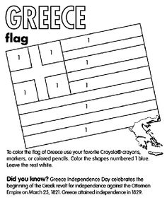 Use Crayola® crayons, colored pencils, or markers to color the flag of Greece… Flag Coloring Pages, Coloring Sheets For Kids, Free Coloring, Culture Day, Greek Culture, Christmas In Greece, Crayola Crayon Colors, Greek Independence, Greek Crafts