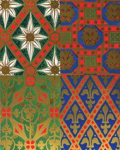 A W N Pugin. Diaper pattern designs, 1844.