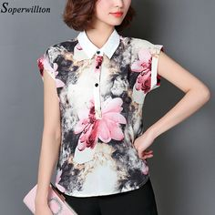 Soperwillton 2016 New Women Blouses Chiffon Blouse Ladies Plus Size Floral Print Ethnic Vintage Shirt Women Blouses #B678
