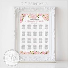 Pink Peonies Roses Wedding Seating Chart  by RBHDesignerConcepts