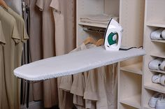 Closet idea with fold down ironing board