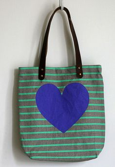 Silkscreened linen and leather tote bag by Jen Hewett