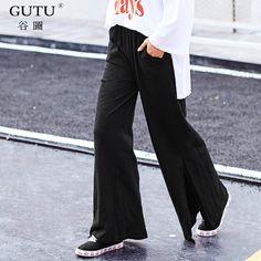 GUTU  2017 New Fashion Korean Autumn Black Loose Bottom Solid Color High  Waist Split 3eb9786b653