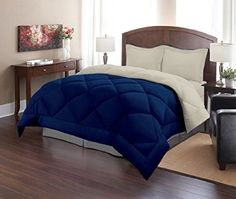 Sweet Home Collection 2 Piece Reversible Polyester Microfiber Goose Down Alternative Comforter Set with Pillow Shams, Twin, Stone/Blue