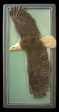 Ceramic tile, Sculpture, ceramic, tile, wall art, ,Bald Eagle,  flying eagle by MedicineBluffStudio on Etsy
