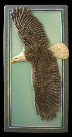 Ceramic tile, Sculpture, ceramic, tile, wall art, ,Bald Eagle,  flying eagle by MedicineBluffStudio on Etsy