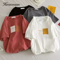 For Sale - Female T-shirt Summer Women T Shirt Tops Casual Short Sleeve Women's Tshirt Printed Woman T-shirts Top Streetwear Female Clothes Girls Fashion Clothes, Teen Fashion Outfits, Clothes For Women, Top Streetwear, Aesthetic T Shirts, 90s Grunge, Mode Style, Cute Casual Outfits, Casual Tops