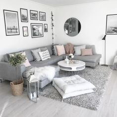 Modern white and grey living room - #greatindoors #grey #Living #Modern #Room #white