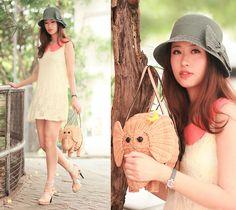 Ianywear Yellow Lace Dress With Coral Collar, Kate Spade Elephant Basket, Joy & Peace Beige Sandals