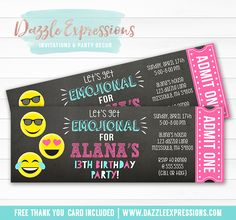 Make your birthday party even more special with these custom ticket invitations! You can even personalize it with your own fonts and wording. Just send me a message about what you are looking for.   Note: This listing is for digital files only which will be sent to you via email. Your files will be sent to the address you provide when checking out. You will not receive anything by mail. You can print the invitation file as many times as you'd like.    Please read through the entire listi...