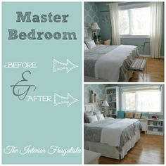 How we built custom DIY Bookcases and a Window Seat in the master bedroom after we had the window opening enlarged and a new window installed.