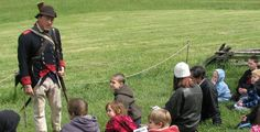 Valley Forge National Park--Continental Soldier speaks to a group of students