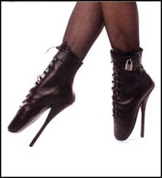 The Locking Ballet Boots are a great way to punish a submissive. Lock them on and make them do their chores and they are not coming off till the chores are done. These Wickedly Evil Ballet Shoes come in either Black Leather or Black Patent Leather.