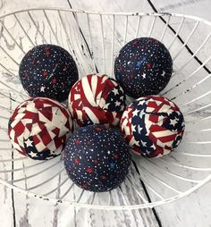 Old Glory Patriotic Fabric Ball Bowl Filler Orbs Set – Wreaths by Kari 4th July Crafts, Fourth Of July Decor, 4th Of July Decorations, July 4th, Birthday Decorations, Christmas Decorations, Summer Crafts, Holiday Crafts, Holiday Fun