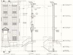 Front Facade & Wall Section Drawings Schacter Section Drawing, Grand Staircase, Brick Wall, Townhouse, The Row, Facade, Floor Plans, Architecture, Architectural Drawings