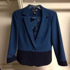 Blue & Navy blazer 3/4 length sleeves, bottom ends around the hip bone. Jackets & Coats Blazers