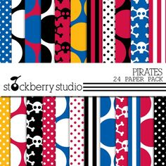 Pirate Digital Scrapbooking Paper Pack by stockberrystudio on Etsy, $5.00