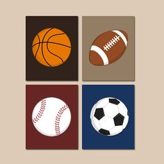 SPORTS Wall Art,CANVAS Or Prints,BOY Sport Theme Nursery,Big Boy Bedroom, Sports Balls Decor,Soccer Football Baseball Basketball Set Of 4